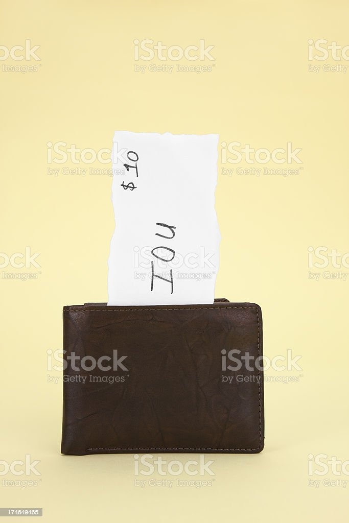 Wallet with IOU Note royalty-free stock photo