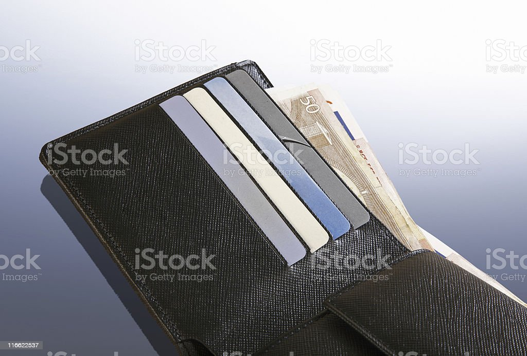 Wallet with plastic cards royalty-free stock photo