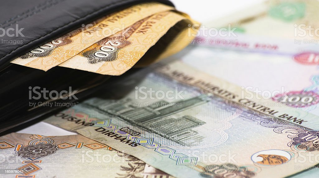 Wallet with UAE curency cash royalty-free stock photo