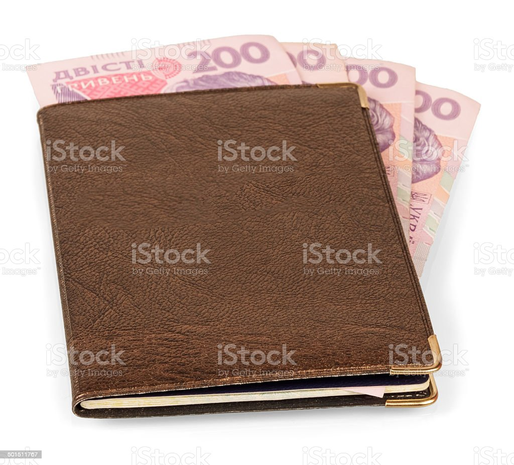 Wallet with Ukrainian banknotes royalty-free stock photo