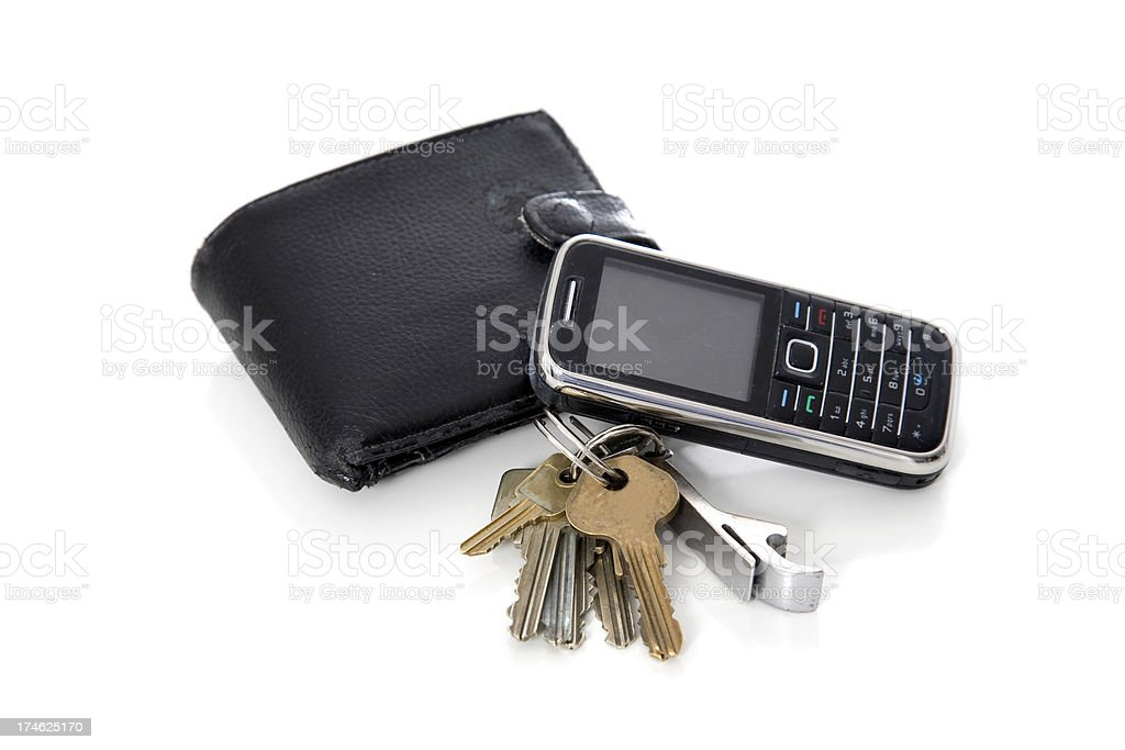 Wallet,keys and phone. stock photo