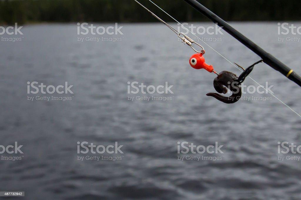 Walleye fishing lure, orange jig with leech stock photo