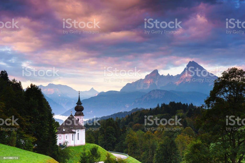Wallfahrtskirche Maria-Gern in Berchtesgaden mit Watzmann stock photo