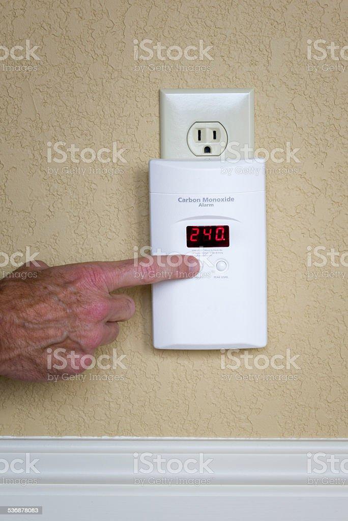 Wall-Mounted Carbon Monoxide Alarm stock photo