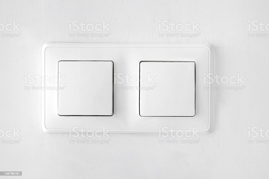wall-mounted white double light switch royalty-free stock photo