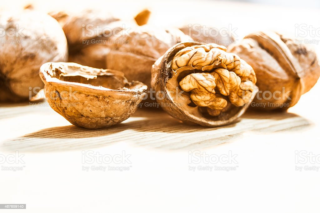 Wallnut white background stock photo