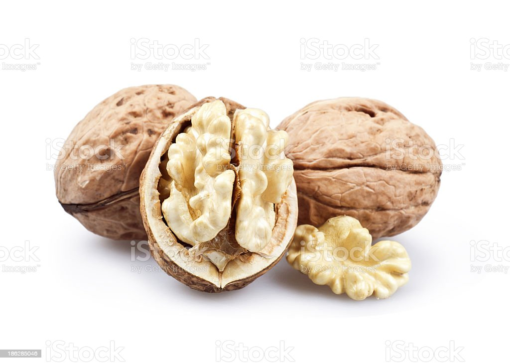 Wallnuts isolated on white background stock photo