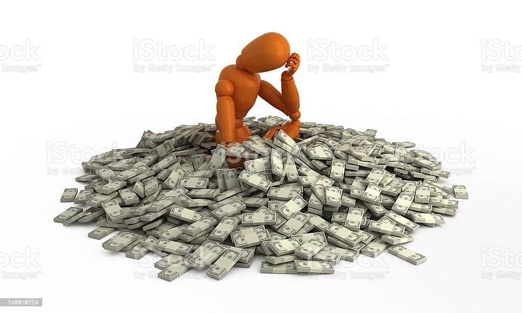 Wallow in money. royalty-free stock photo