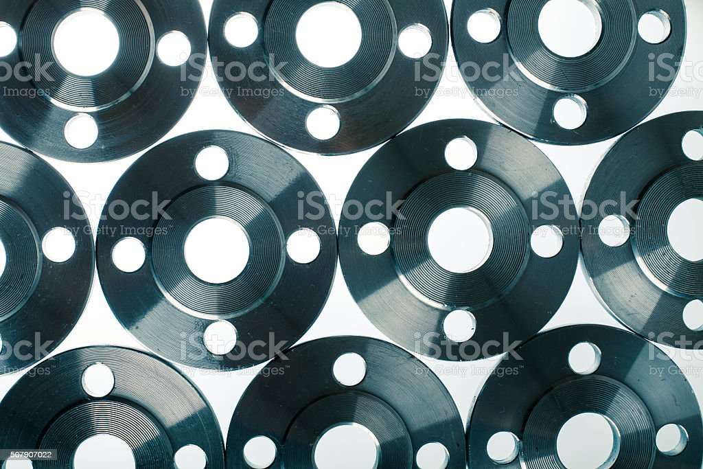 Wallpaper of flat steel flange isolated on white. stock photo