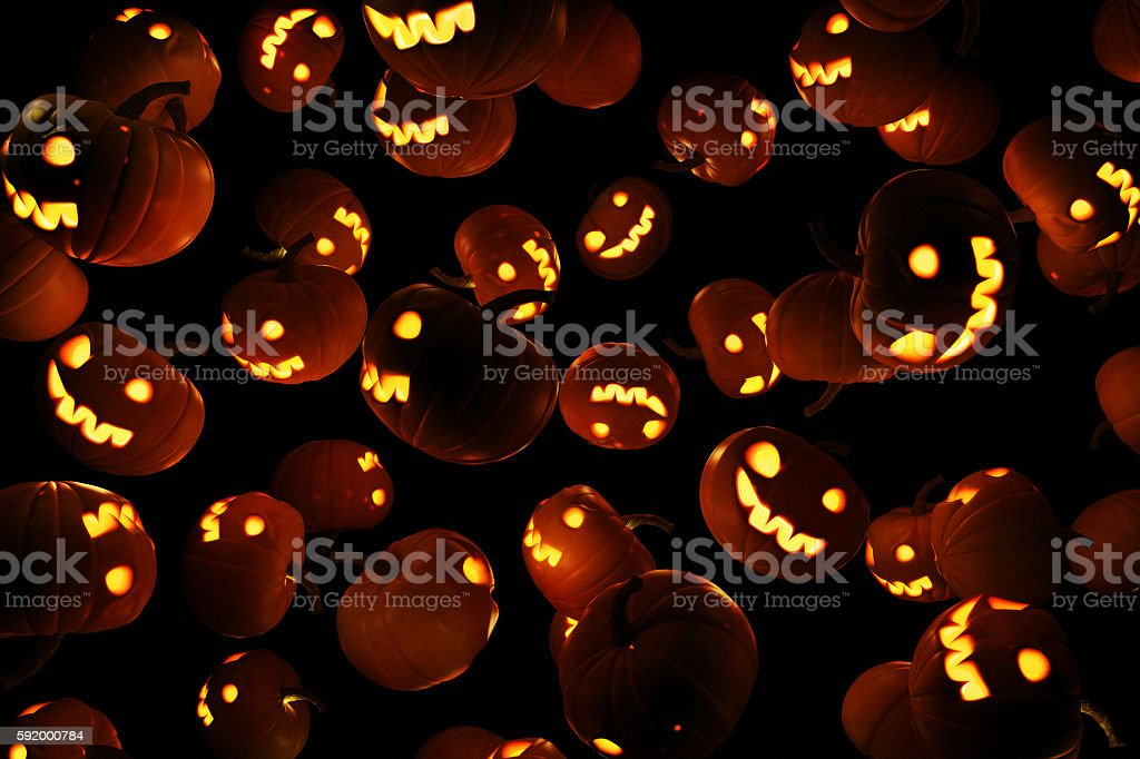 Wallpaper or background with the image of Jack's lanterns stock photo