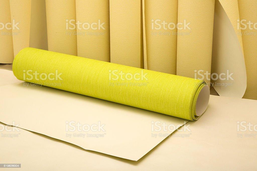Wallpaper rolls stock photo