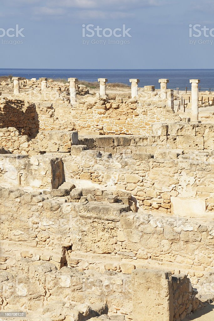 walls and ancient row  columns in Pafos archaeological site Cyprus royalty-free stock photo