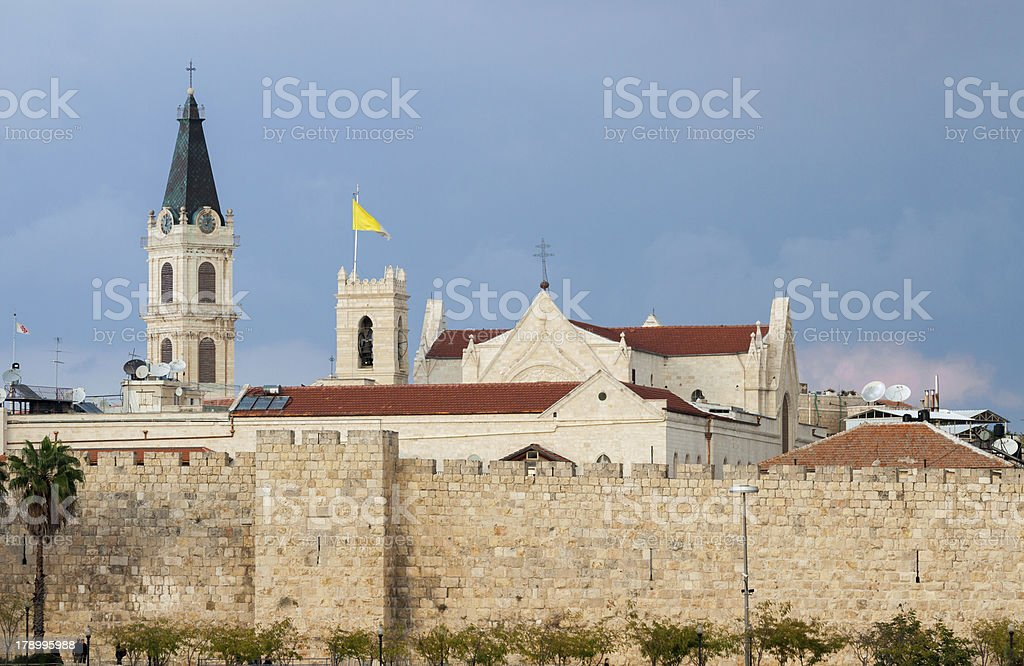 Walls and church of Jerusalem royalty-free stock photo