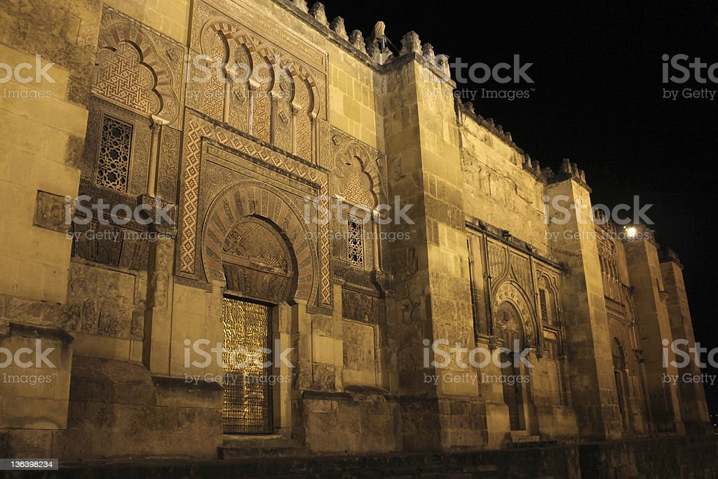 Walls and doors of the mosque in Cordoba stock photo