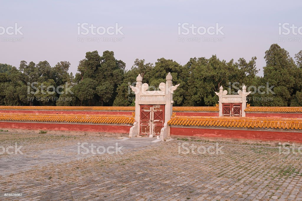Walls and Gates in the Temple of Earth in Beijing stock photo