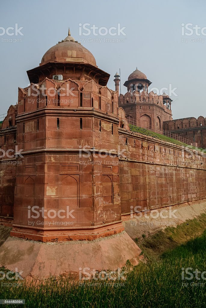 Walls and tower of Red Fort (Lal Qila) Delhi stock photo