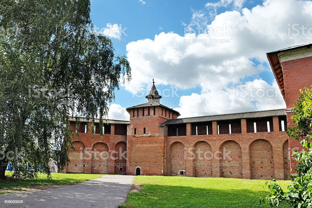Walls and towers of the Kremlin in Kolomna stock photo