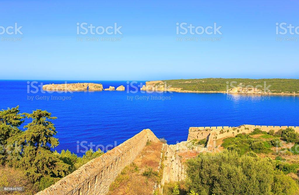 walls inside the Neokastro fortress stock photo