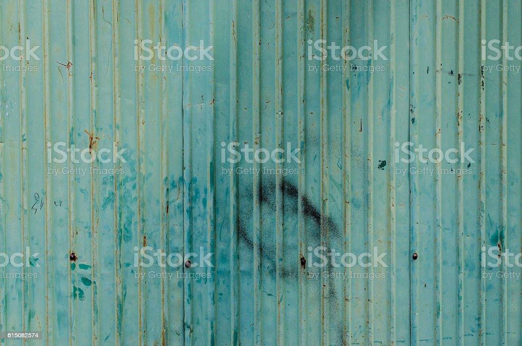 Walls made of zinc green stock photo
