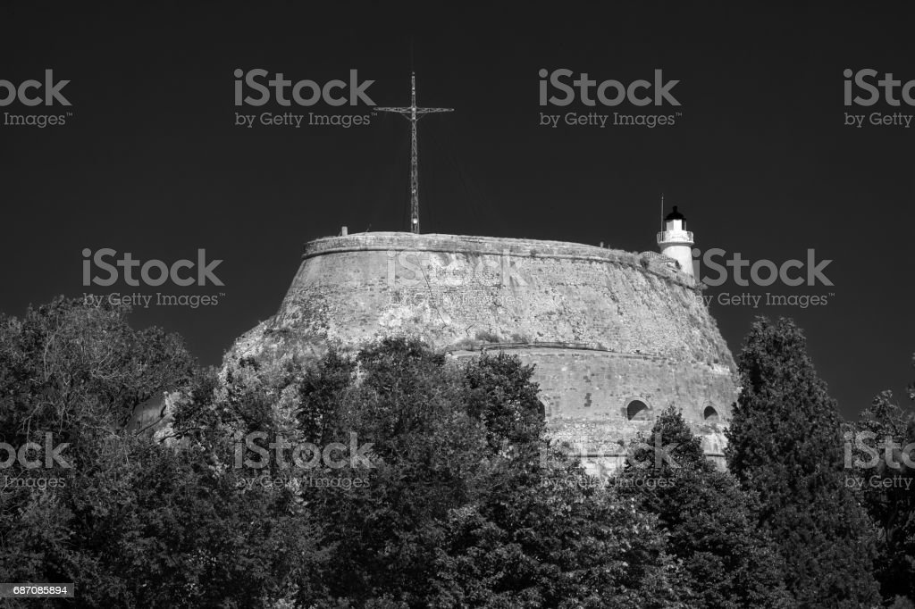 Walls of an old Fortress Moat, Corfu Town, Greece stock photo