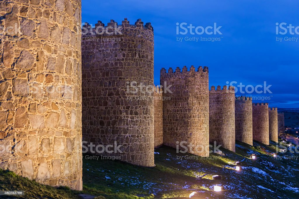 Walls of Avila in the evening stock photo