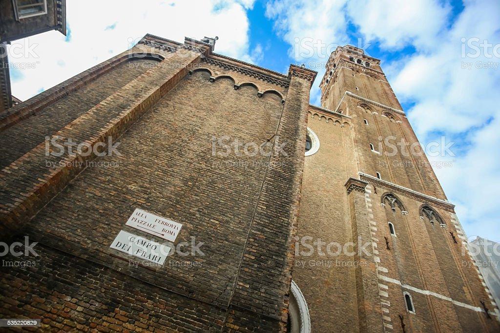 Walls of Basilica dei Frari stock photo