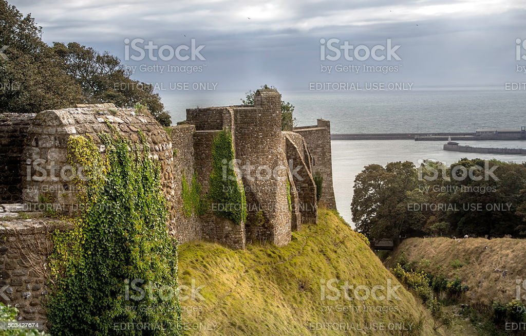 Walls of Dover Castle stock photo