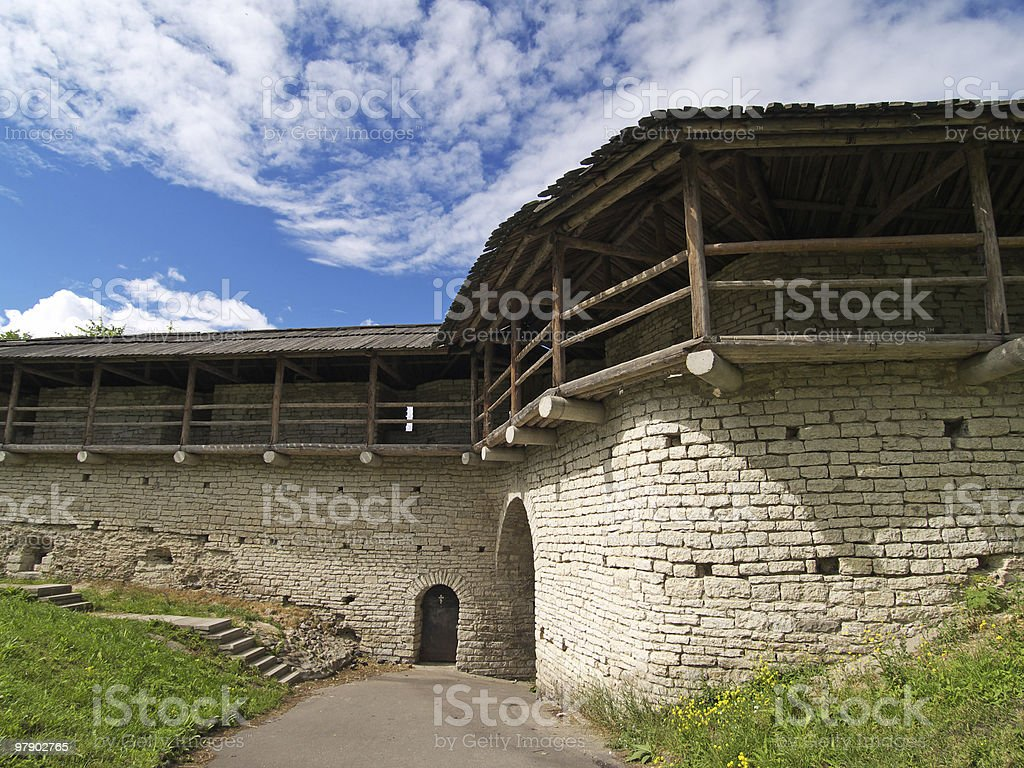 Walls of old fort stock photo