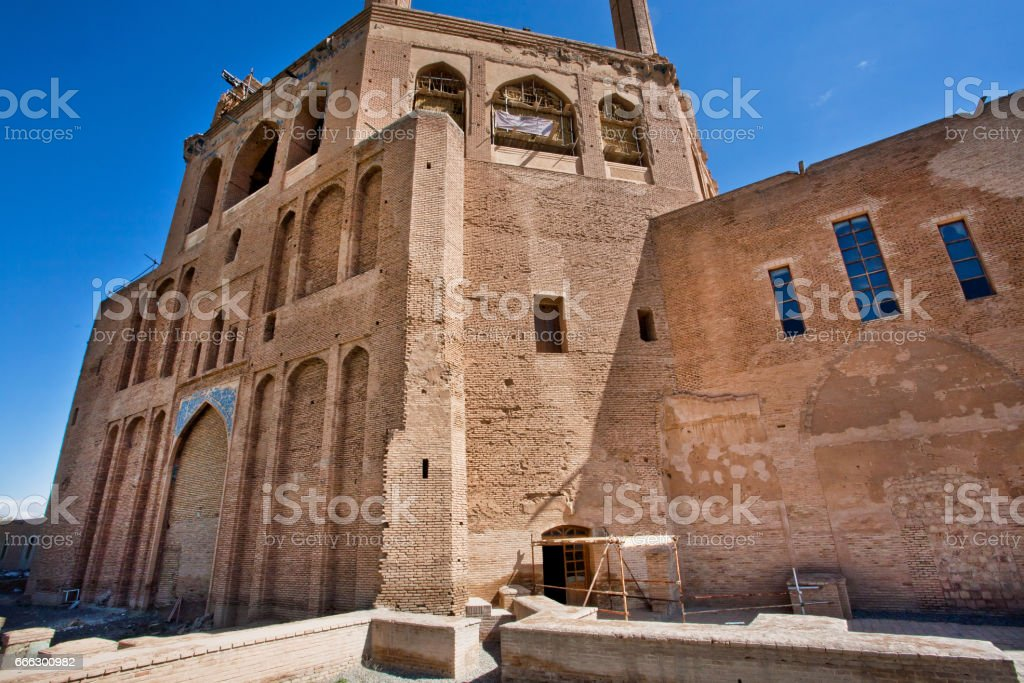 Walls of the Persian mausoleum Dome of Soltaniyeh, became the UNESCO World Heritage site. stock photo