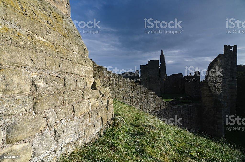 Walls of Warkworth Castle stock photo