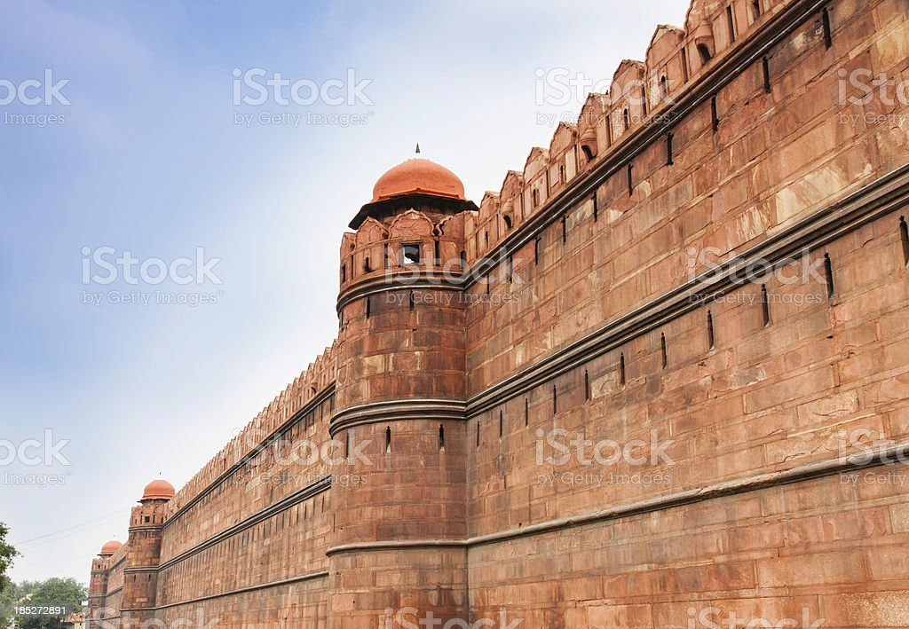 Walls surrounding the Red Fort, Delhi stock photo