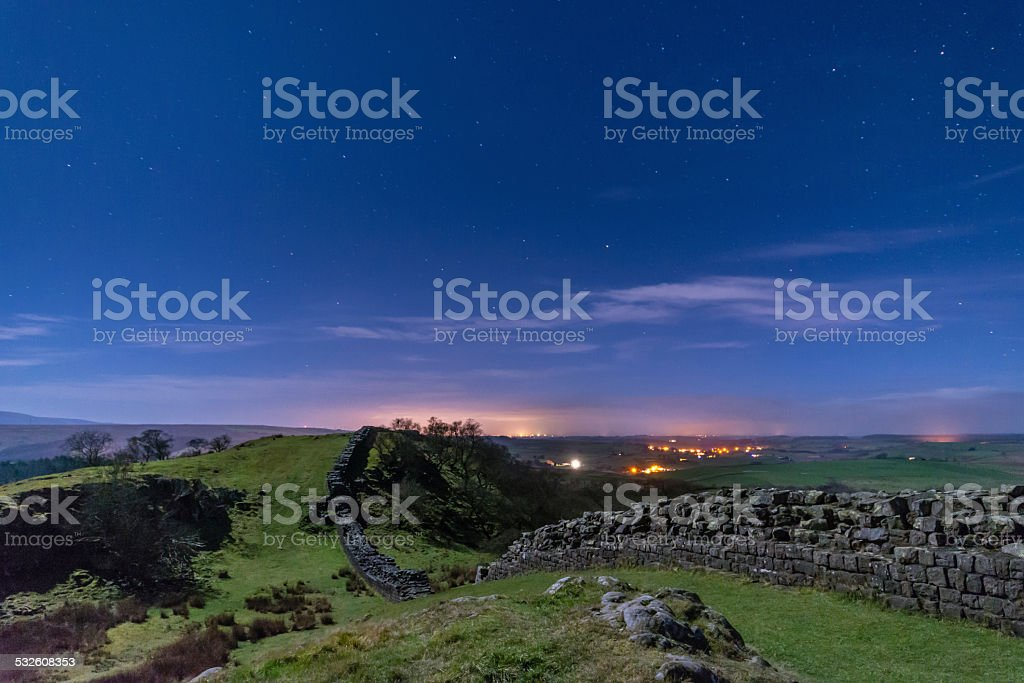 Walltown Crags on Hadrians Wall at night stock photo