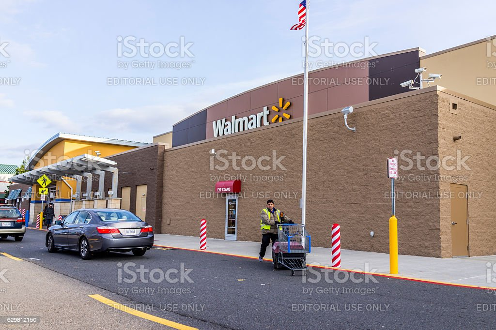 Walmart building facade exterior stock photo