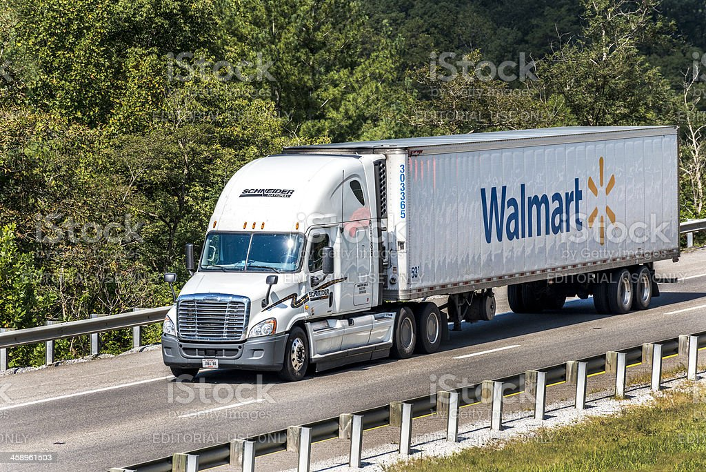 Walmart Semi-Truck Traveling On The Interstate stock photo