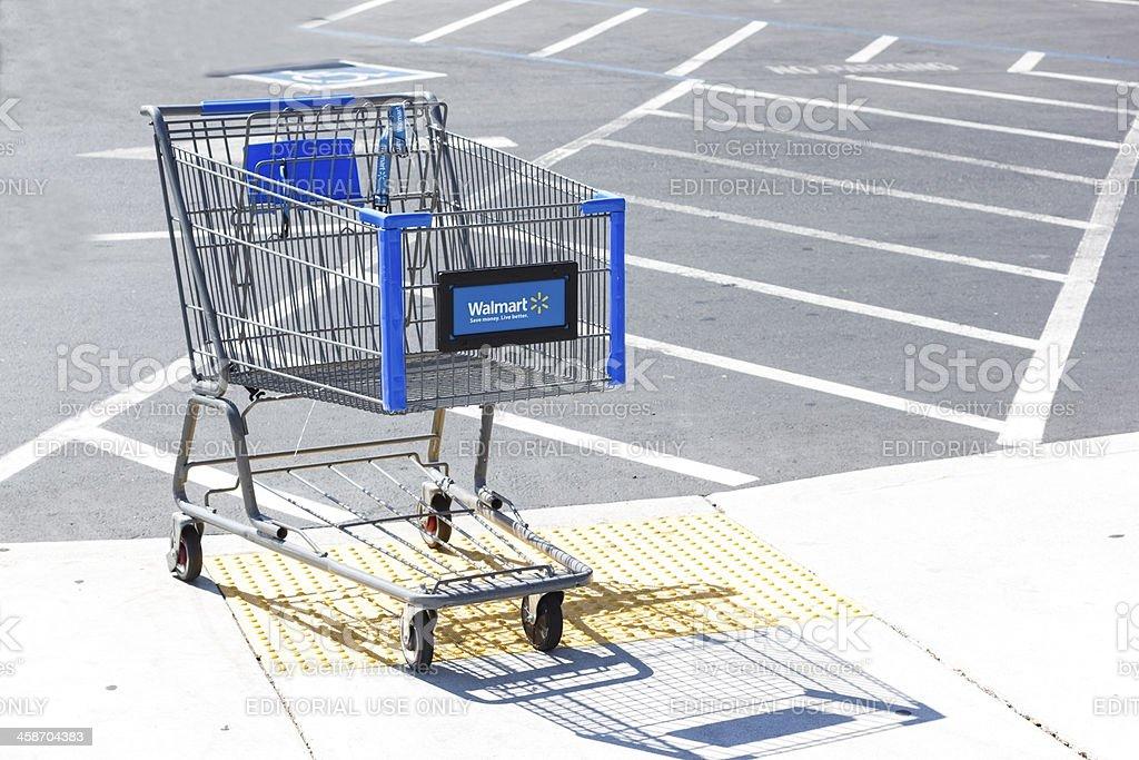 Walmart shopping cart. stock photo