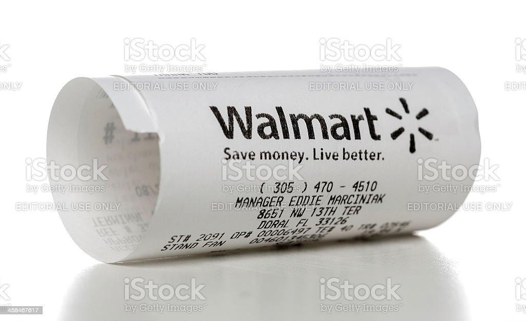Walmart store receipt stock photo