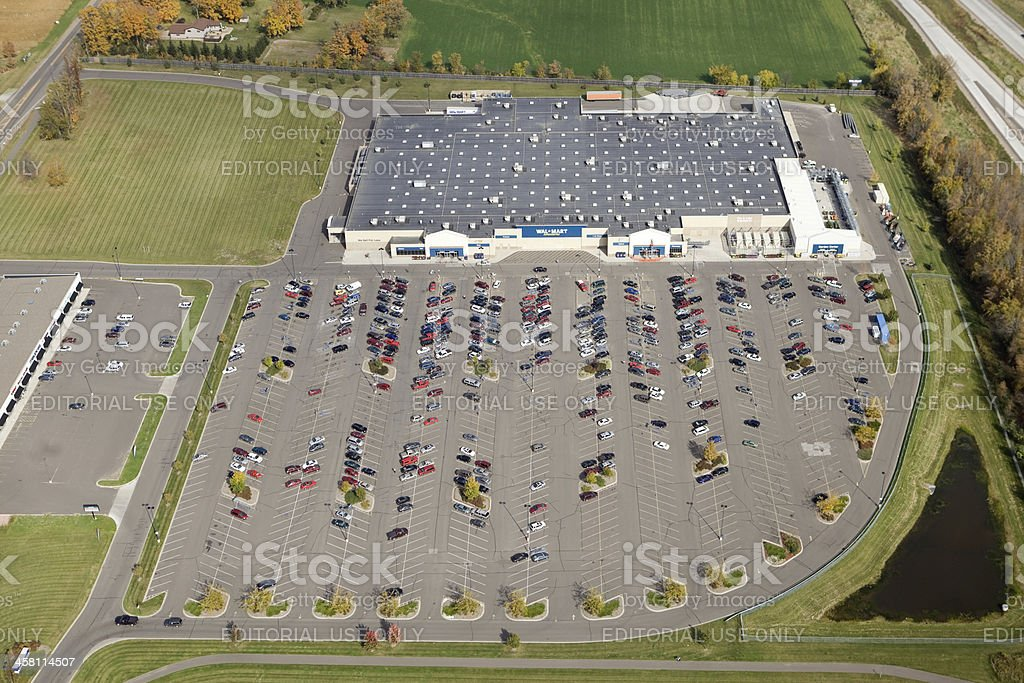Wal-Mart Supercenter Aerial View with Parking Lot stock photo