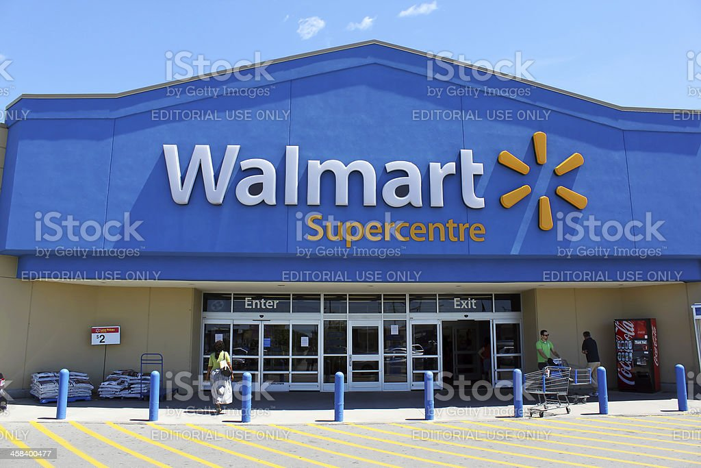 Walmart Supercentre storefront stock photo