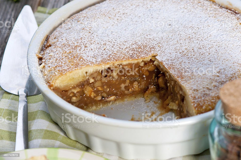 Walnut and Caramel Cake stock photo