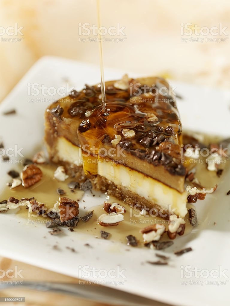 Walnut and Caramel Cheesecake stock photo