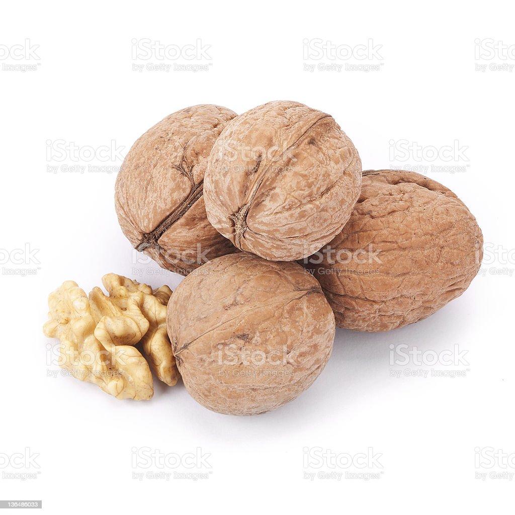 walnut and  isolated stock photo
