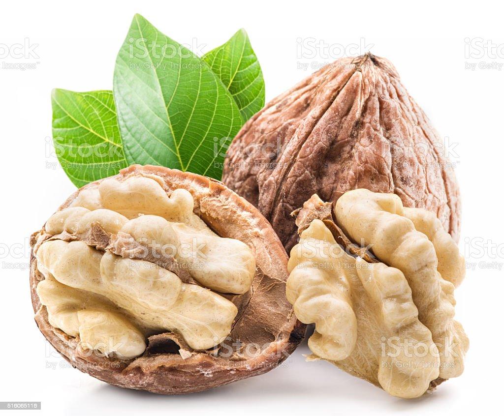 Walnut and walnut kernel. stock photo