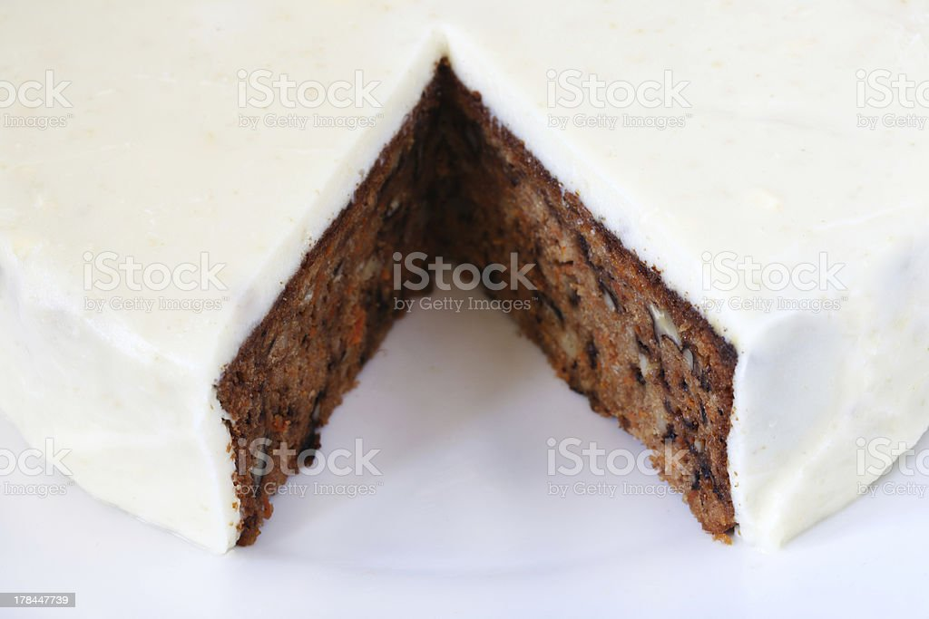 Walnut Carrot cake covered with marzipan, detail royalty-free stock photo