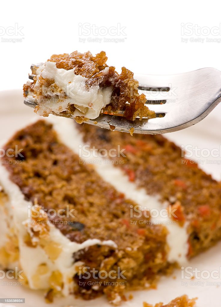 Walnut Carrot Cake On A Fork stock photo