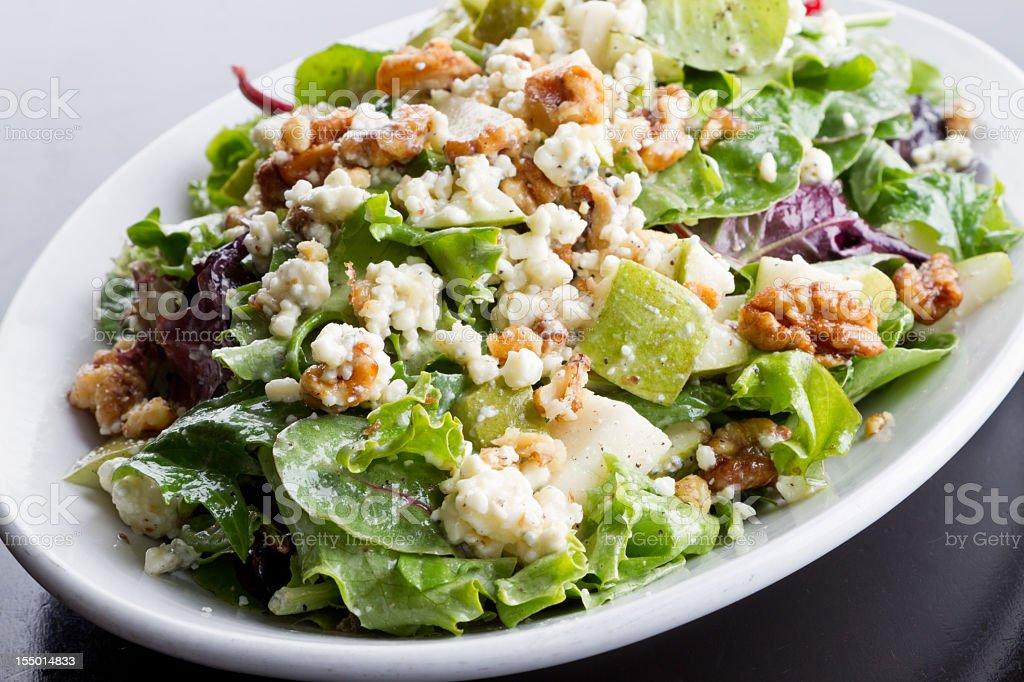 Walnut, Cheese and Apple Green Salad stock photo