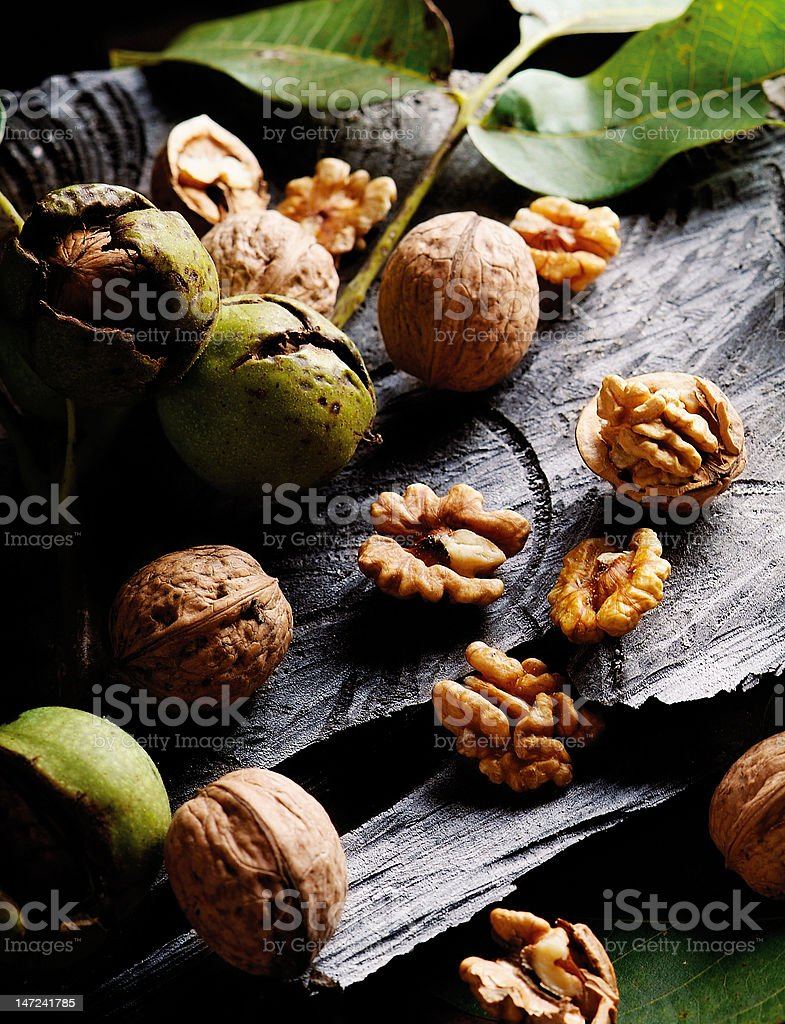 Walnut composition stock photo