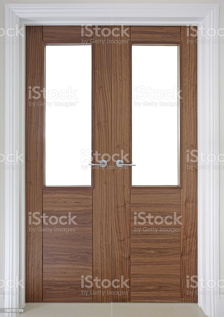 walnut doors with glazing and cliiping path stock photo