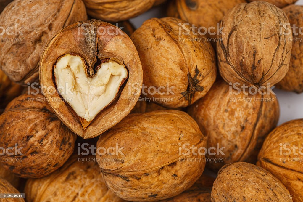 Walnut heart shaped stock photo