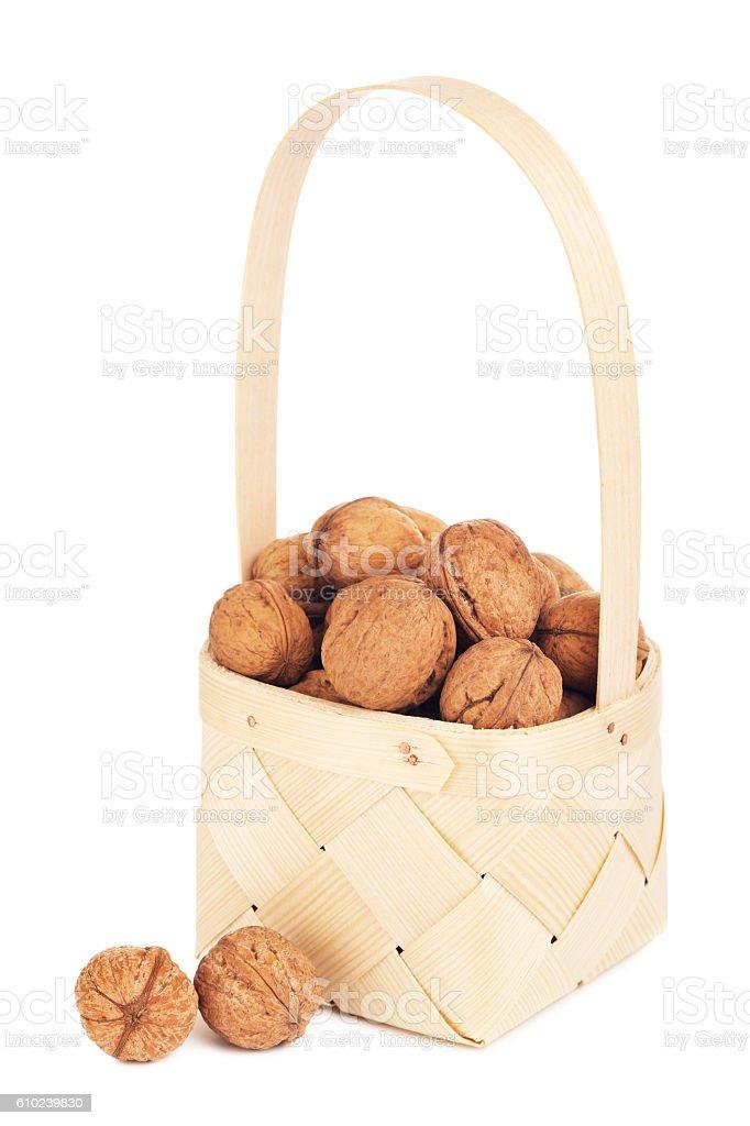 Walnut In Wooden Basket stock photo