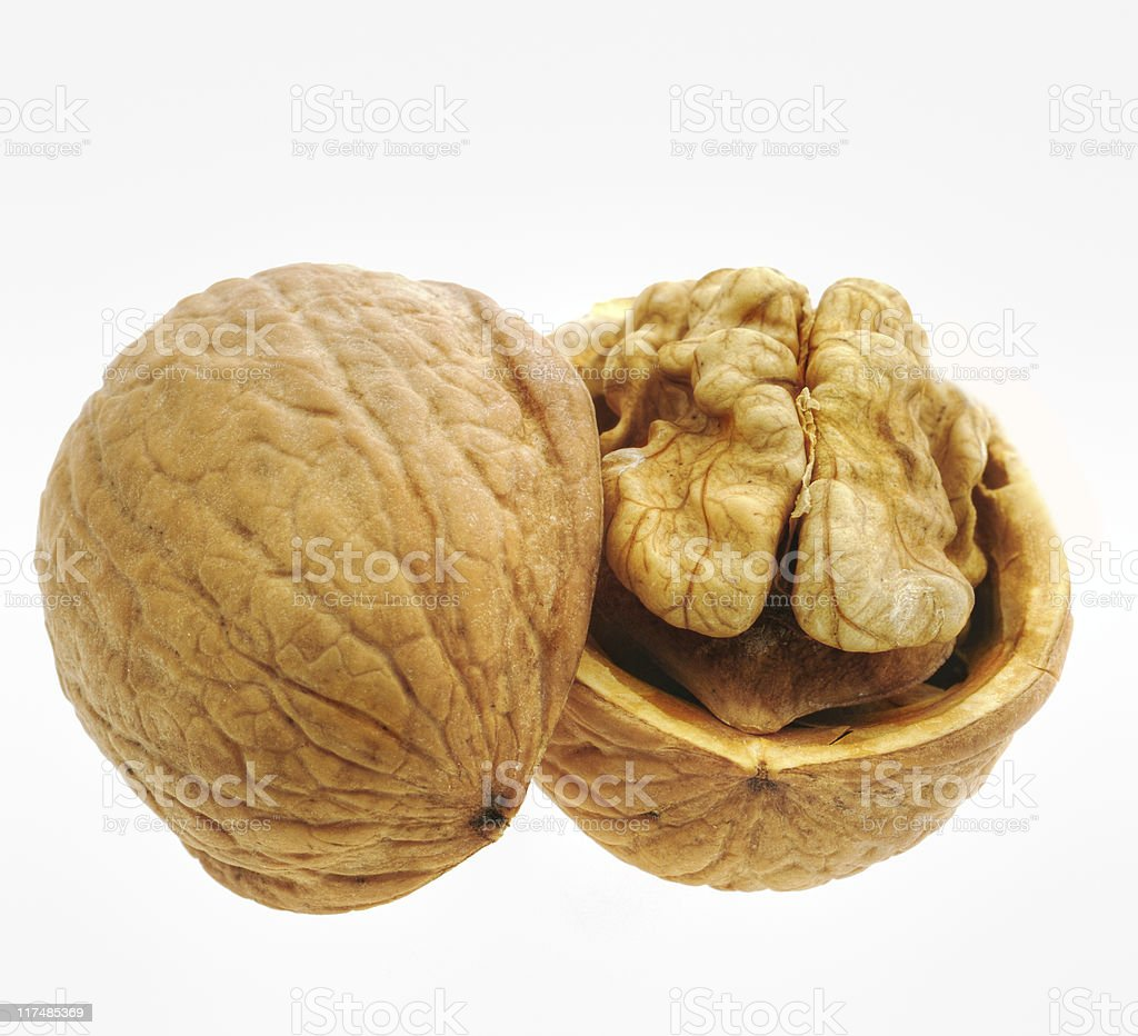 Walnut isolated and open royalty-free stock photo